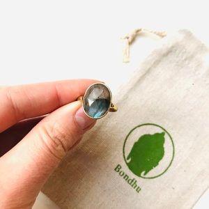 Labradorite Multifaceted Large Stone Brass Ring